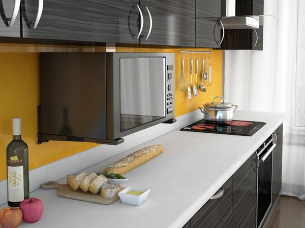 Микроволновка на кронштейне на кухне фото
