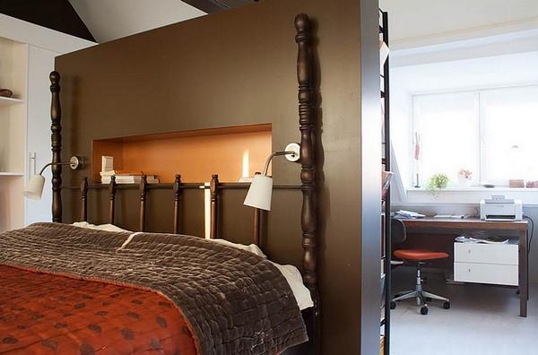 Зонирование спальни и кабинета шкафом