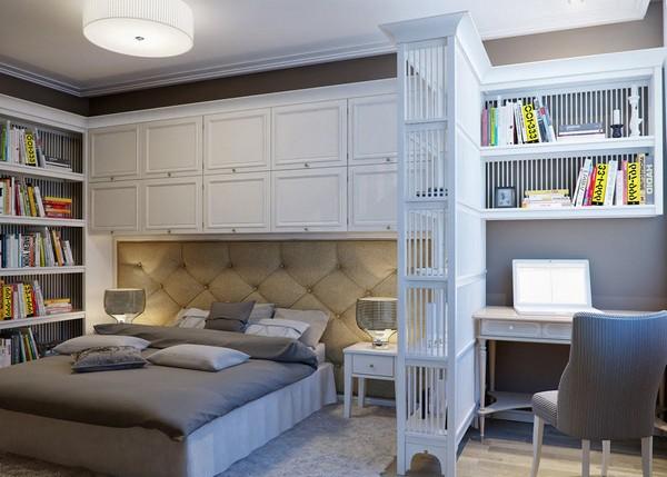 Интерьер спальни и рабочего кабинета в одной комнате
