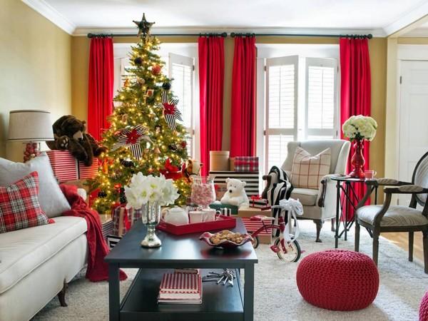 Как оформить гостиную к Новому году 2017 фото