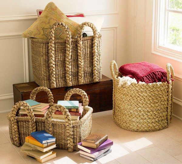 Детские плетеные корзины для игрушек