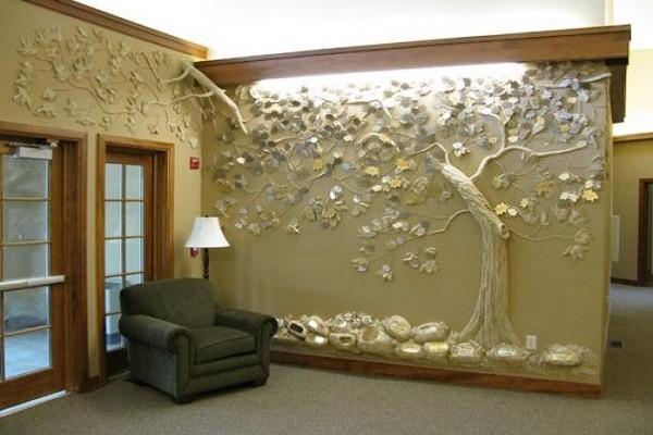 Отделка стены барельефом фото