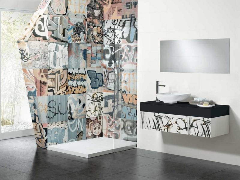 Граффити в интерьере ванной комнаты