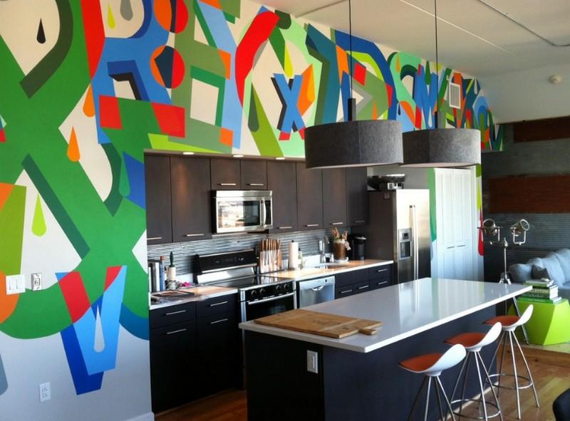 Граффити на кухонной мебели фото