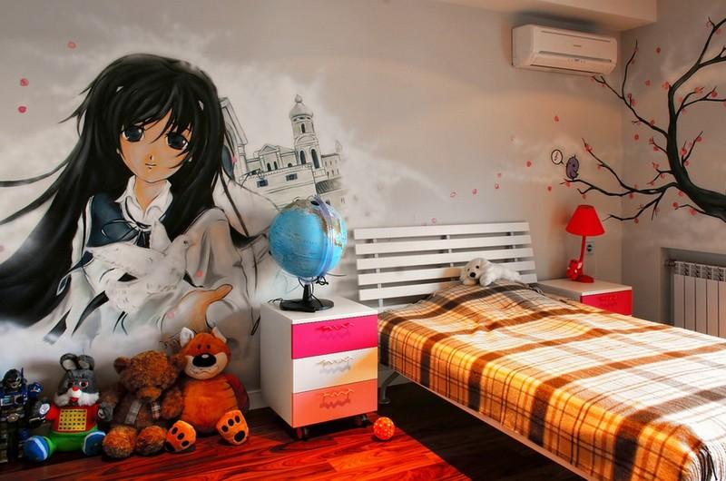 Граффити в интерьере детской комнаты девочки