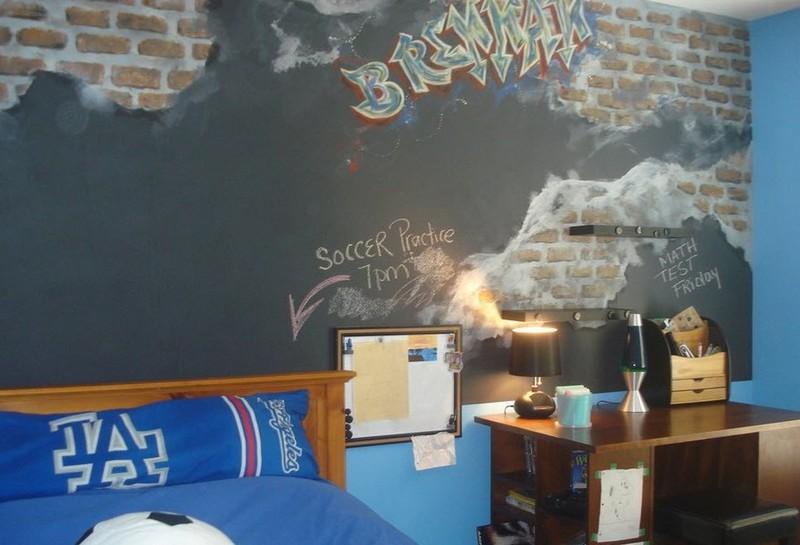 Граффити в интерьере детской комнаты мальчика