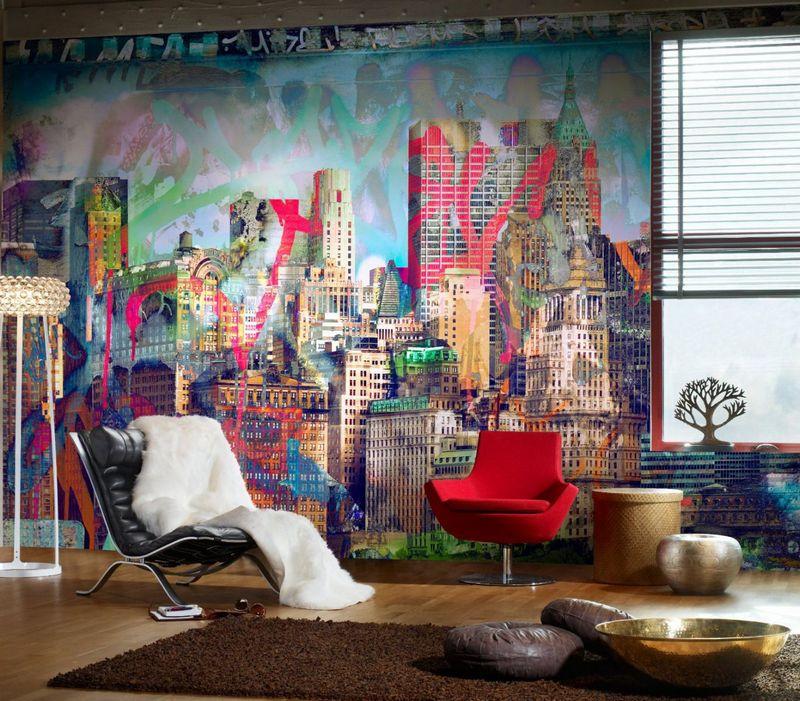 Граффити на стене в гостиной фото