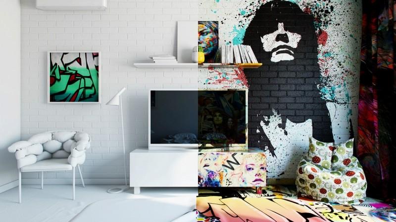 Граффити в современном интерьере