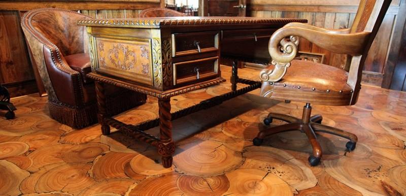 пол из деревянных спилов фото