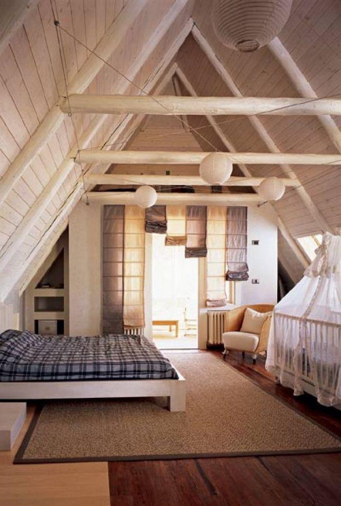 Спальня в мансарде с двускатной крышей