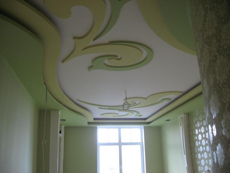 отделка потолка гипсокартоном фото