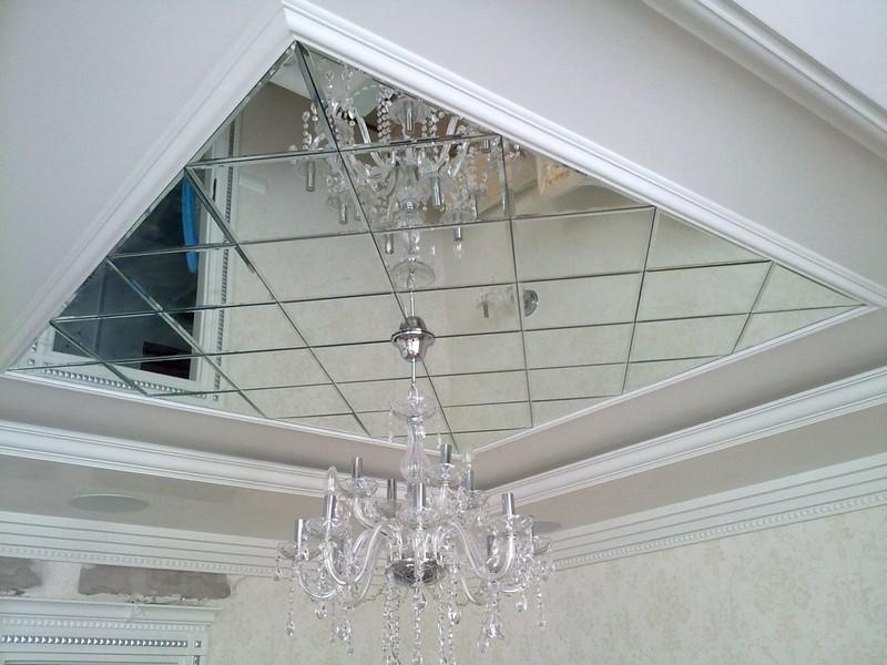 зеркальный потолок из полистирольных плит фото
