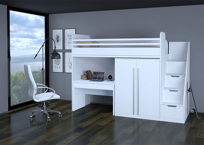 кровать чердак для взрослых со шкафом фото