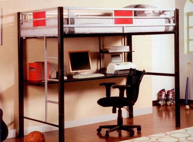 кровать чердак с рабочей зоной для взрослого фото