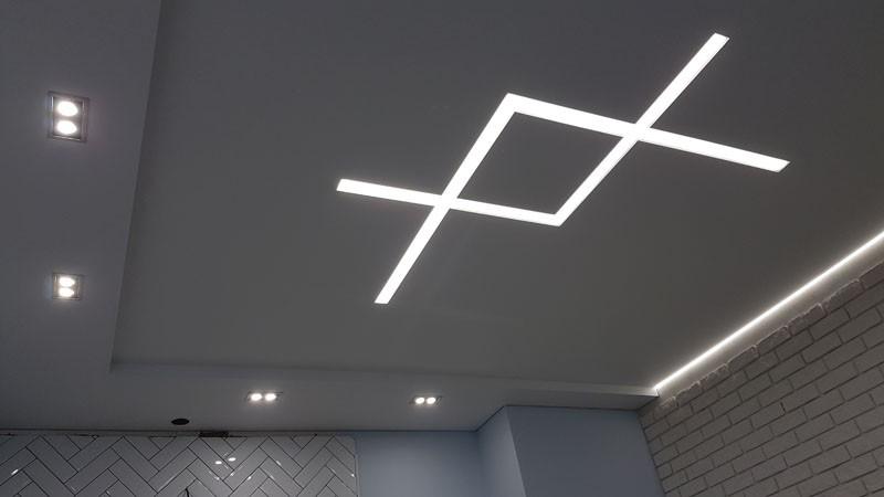 световой потолок натяжные линии фото