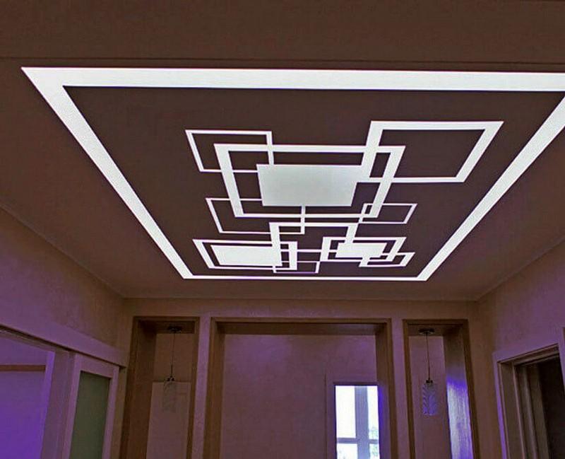 световые линии на натяжном потолке фото