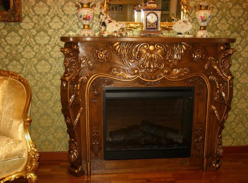 деревянный камин фото