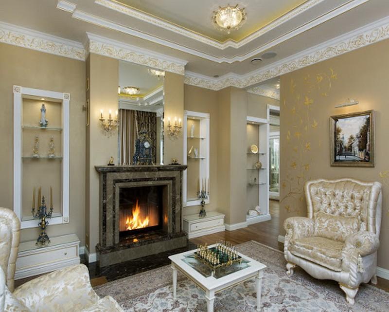 дизайн классической гостиной с камином фото