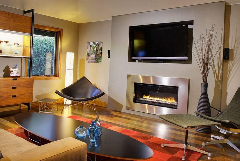 дизайн современной гостиной с камином фото