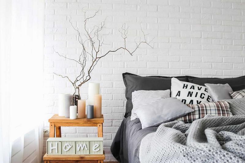 акценты в спальне скандинавского стиля фото