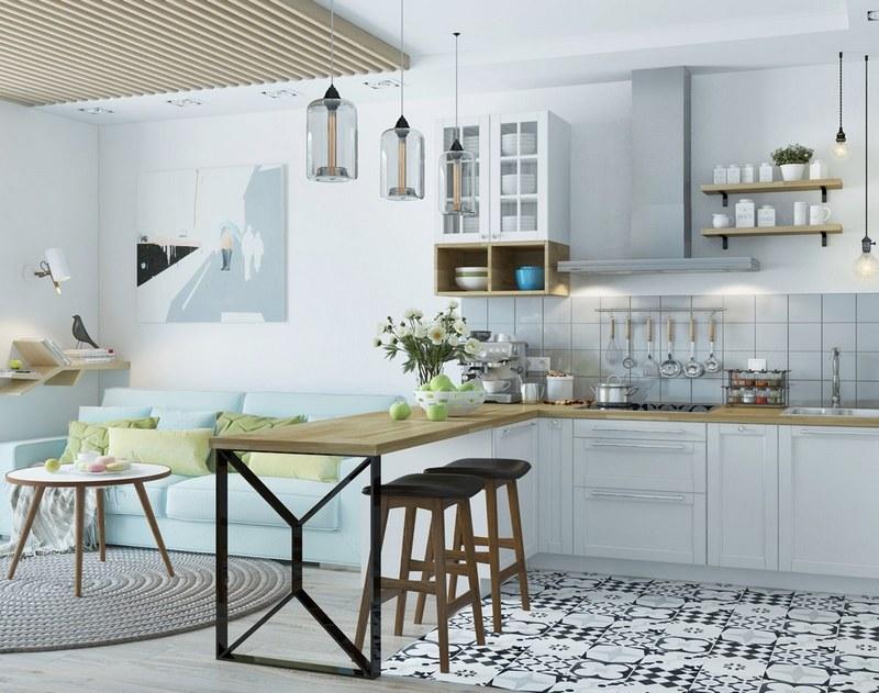 мебель на кухне в скандинавском стиле фото