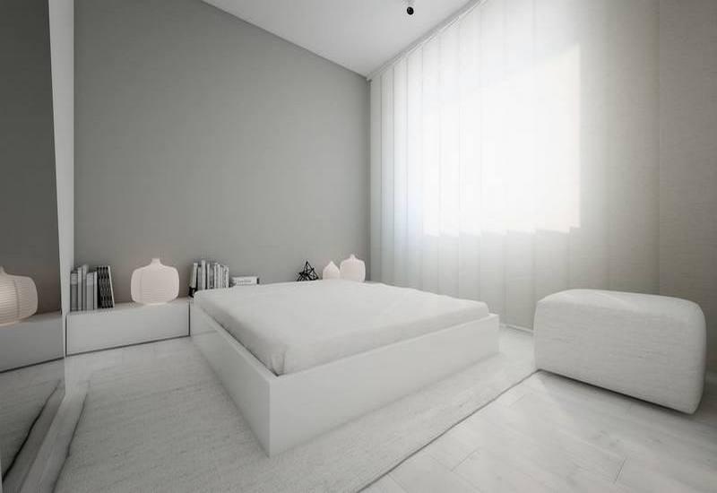 белая спальня в стиле минимализм фото
