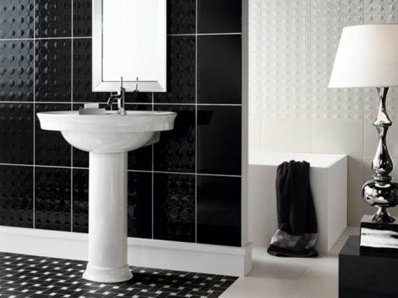 Черно белая ванная комната полосатые