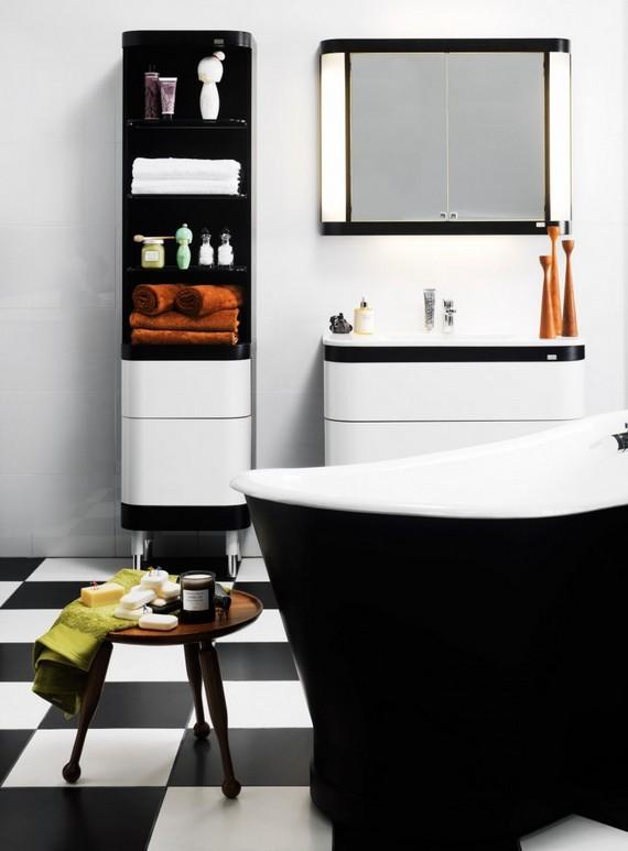 Оформление ванной комнаты в черно-белых тонах