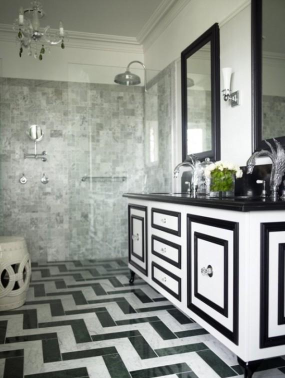 Интерьер ванной комнаты черно-белой фото