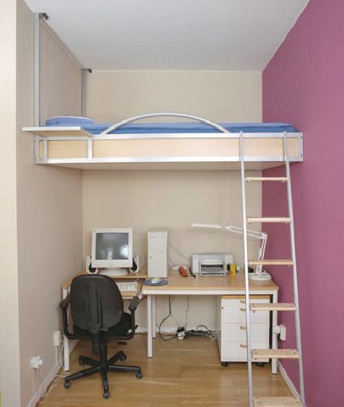 10 Creative Examples For Dividing Small Spaces: Кровать у самого потолка
