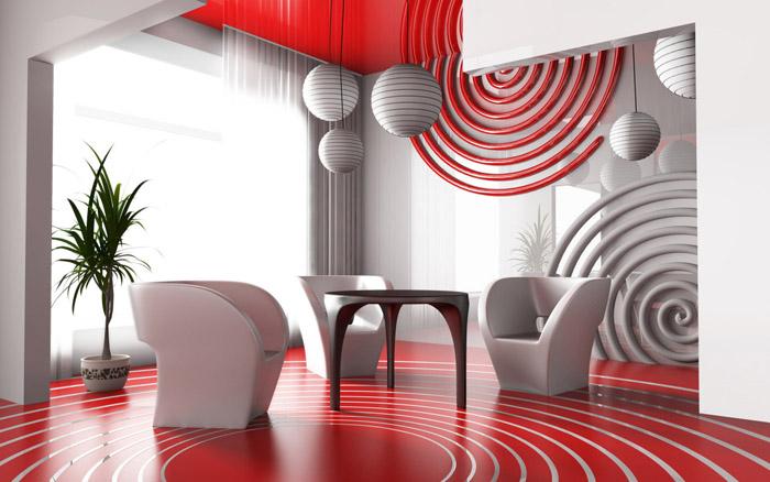 Оформление жилых комнат в красно-белых тонах фото | Дом Мечты