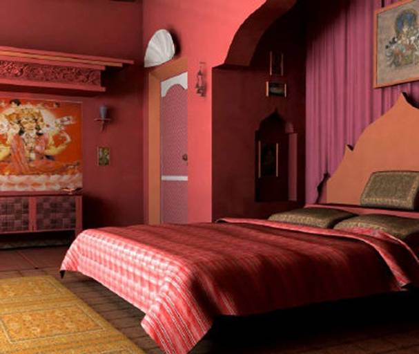 Индийский стиль интерьера - это бирюзовые, малиновые, оранжевые цвета.