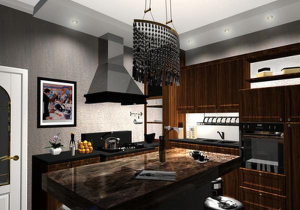 Арт-деко стиль в интерьере кухни фото.