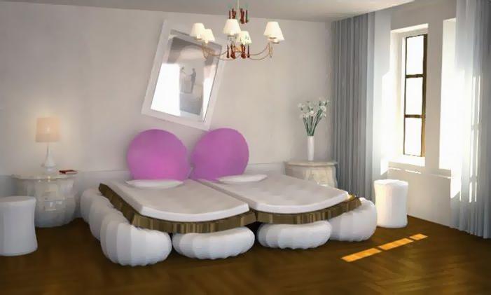 кровать с сердцем