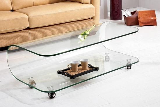 Журнальный столик стеклянный на колесиках