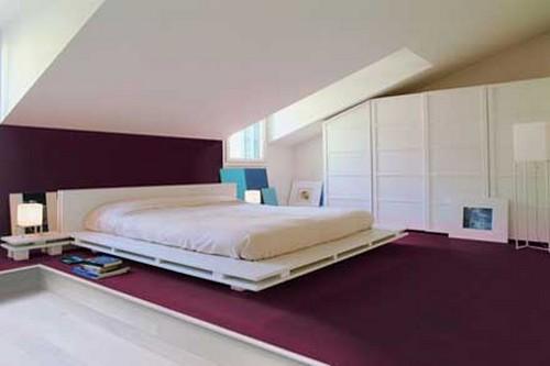 Кожаные полы в интерьере спальни