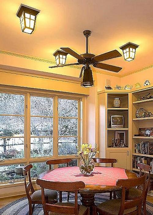 Потолочный вентилятор в столовой