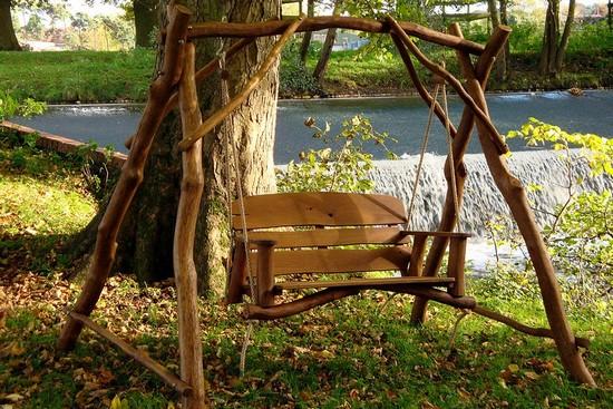 Качели садовые деревянные