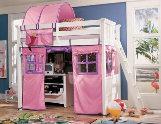 Кровать-чердак с игровой и рабочей зоной