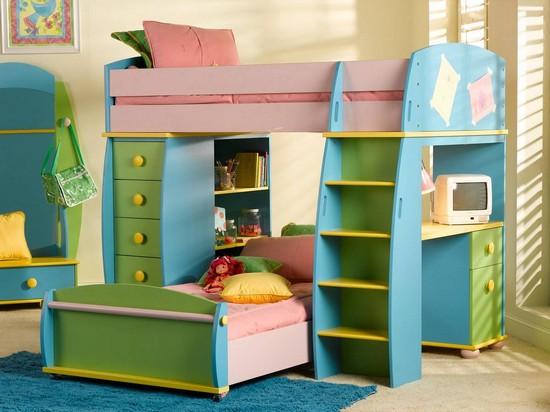 Детская кровать-чердак с диваном