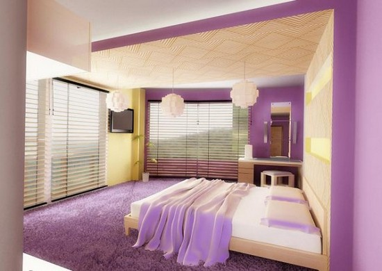 Интерьер фиолетовой спальни