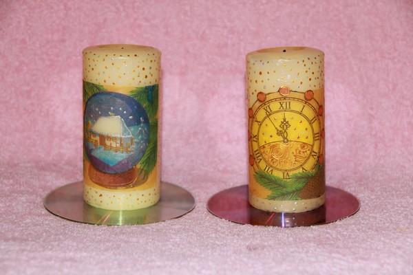 Новогодние свечи на подставках их дисков