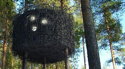 Домик на дереве из веток