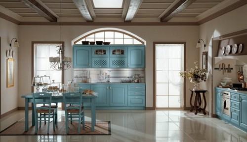 Кухня бело-голубая