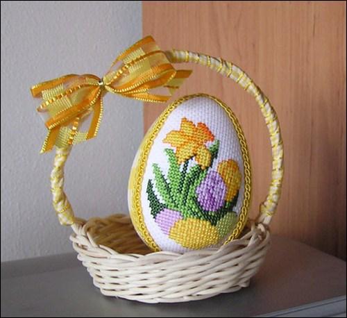 Пасхальное яйцо в корзинке - декоративное украшение к Пасхе 2012