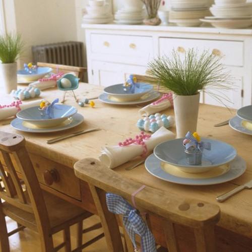 Пасхальный декор стола фото