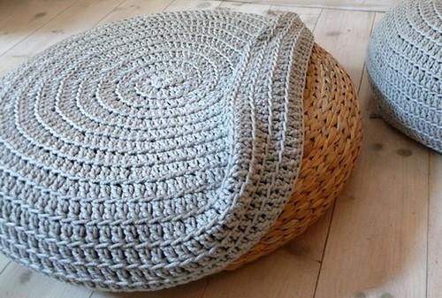 Вязаный декор для дома пуфики из ротанга