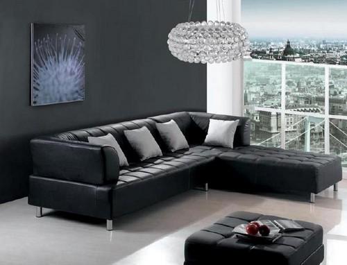 Черный кожаный угловой диван