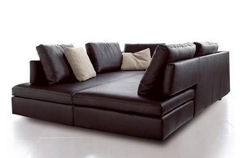 угловой кожаный диван кровать