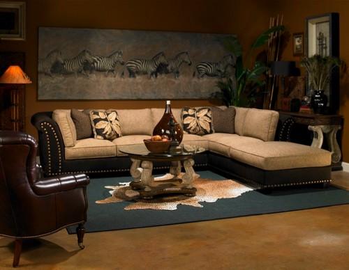 Интерьер гостиной в стиле сафари